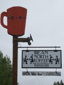 Highway sign to Bean North Coffee