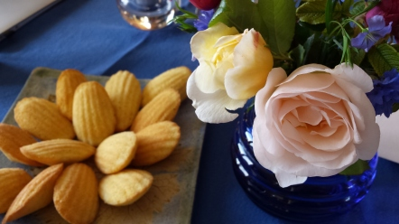 Carol's bouquet and madeleines on a Sunday-blue cloth!